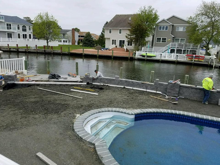 Pavers retaining wall and waterfall Toms river nj 2-720x540